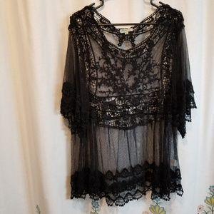 Nwt black lace sheer gorgeous sexy feminine shirt